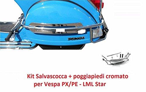 SALVASCOCCA POSTERIORE cromato per vespa PX // LML star 125/150/151/200 cc PARAURTO/PROTEZIONE