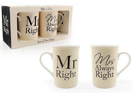 Mr Mrs &Right Tasse Set ideal für Hochzeiten, GEBURTSTAGS-, baby, als Geschenk, als WEIHNACHTS- und more...