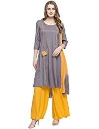 STOP To Start Stop Womens Round Neck Colour Block Palazzo Suit