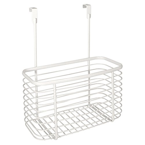 InterDesign Axis Over the Kitchen Cabinet Storage Organizer Basket, Pearl White