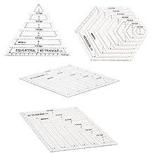 MagiDeal 4pcs Rhombus/Hexagon/Triángulo Plantilla Quilting Regla Para DIY Patchwork Accesorios de Bricolaje