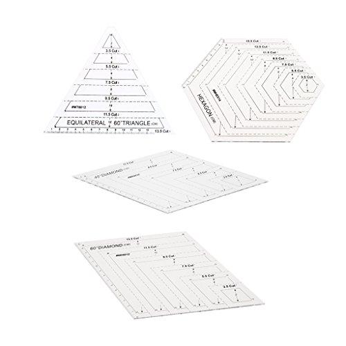 MagiDeal Quilt-Schablone Set 60 Grad Diamant + 60 Grad Dreieck + Hexagon Form + 45 Grad Diamant Für DIY Patchwork