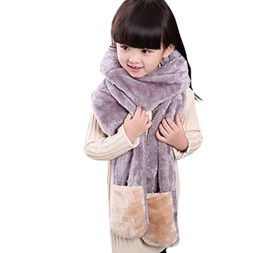 3 Stück Wintermütze (Wawer Kinder Winter Mütze Handschuhe Hut Schal ein Stück Anzug für 3-12 Jahre alt (Grau))