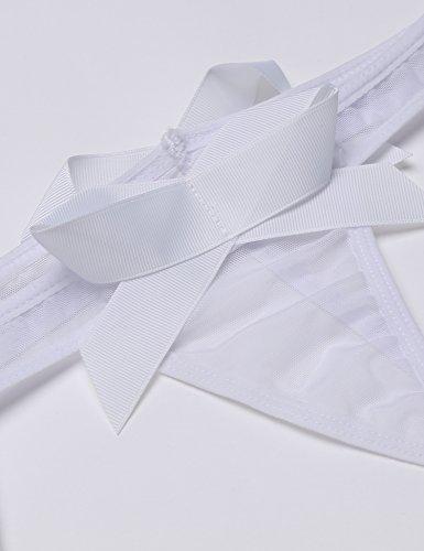 Avidlove Damen Verspieltes Dessous-Set mit Tief V-Ausschnitt Neckholder Dessous Set Babydoll Erotik Lingerie Transparent Unterwäsche Nachtwäsche Weiß