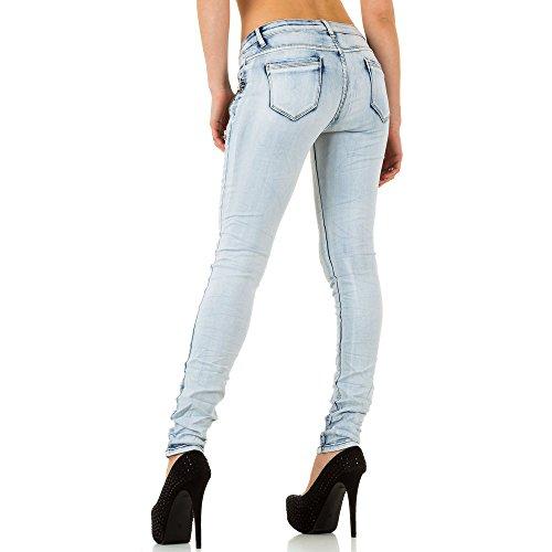 Damen Jeans, USED LOOK STRASS SKINNY JEANS, KL-J-Q1657 Blau