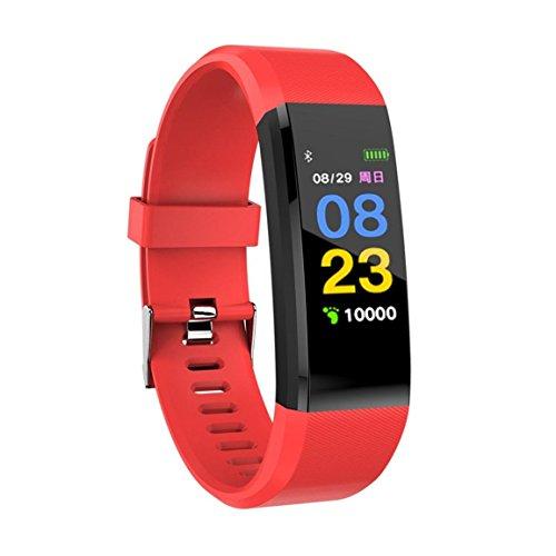 Bellelove Femmes Hommes Intelligent Électronique Poignet Gadgets Smart montre Bande Sommeil Sport Fitness Podomètre Bracelet Montre avec Coloré UI (Rouge)
