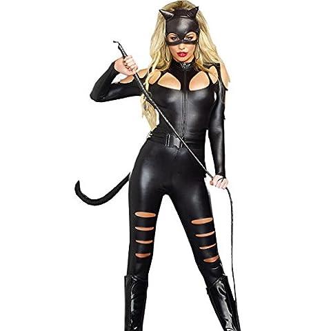 Cat Femme Costumes Sexy - Nihiug Black High Collar à Manches Longues