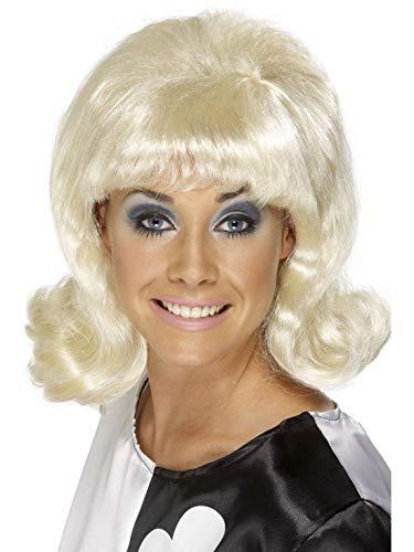 Halloweenia - Kostüm Accessoires Zubehör Damen Kurzhaar Perücke im 60er Jahre Föhnwelle Stil, perfekt für Karneval, Fasching und Fastnacht, Weiß
