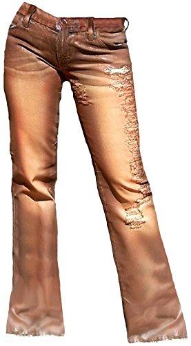 Leder Bootcut Jeans (Fornarina Damen Jeans Braun Brown ATTITUDE DENIM PANT Cotton Destroyed Löcher Used Vintage Leder Optik Rock Star Bootcut Schlag Hose Schlagjeans W28 L34)