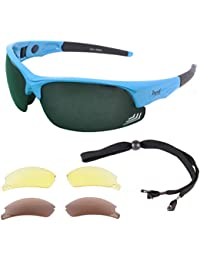 Rapid Eyewear Edge Blue Polarised GOLF SUNGLASSES For Men & Women With Interchangeable Vented Lenses & Side Arm Adjustment System. Glasses With UV400 Antiglare Protection