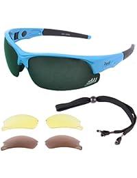 Edge Blau GOLFBRILLEN mit Wechselgläser (grünen verspigelt, braun polarisiert, gelbes Licht-Verbesserung) - Sport Sonnenbrille für GOLF. UV schutz 400. Für Herren und Damen