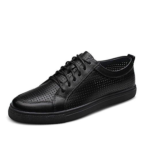 Herren outdoor-Freizeit aus weiche Leder schneiden Fashion-Sneaker Bootsschuh Black