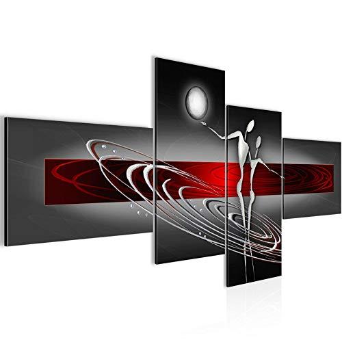 Bilder Abstrakt Figuren Wandbild 150 x 60 cm Vlies - Leinwand Bild XXL Format Wandbilder Wohnzimmer Wohnung Deko Kunstdrucke Rot 4 Teilig - MADE IN GERMANY - Fertig zum Aufhängen 301245a - Bilder