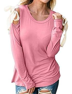 Kerlana Camicia Donna Manica Lunga Rotondo Collo Autunno Invernali T-Shirt Senza Spalline Pizzo Bolero Moda Casual