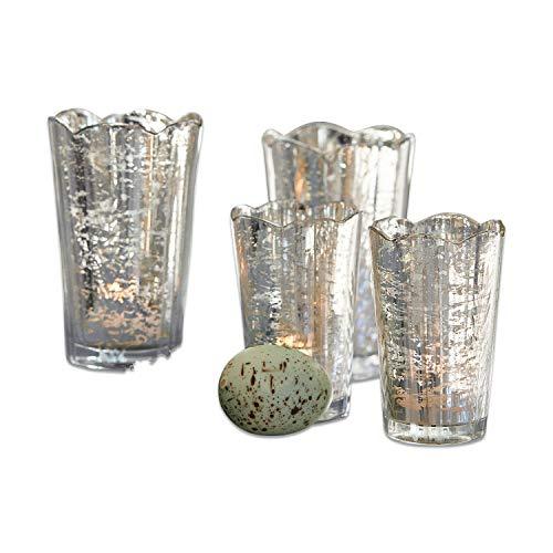 Loberon Windlicht 4er Set Sintelly, Glas, H/Ø ca. 12,5/8 cm, antiksilber