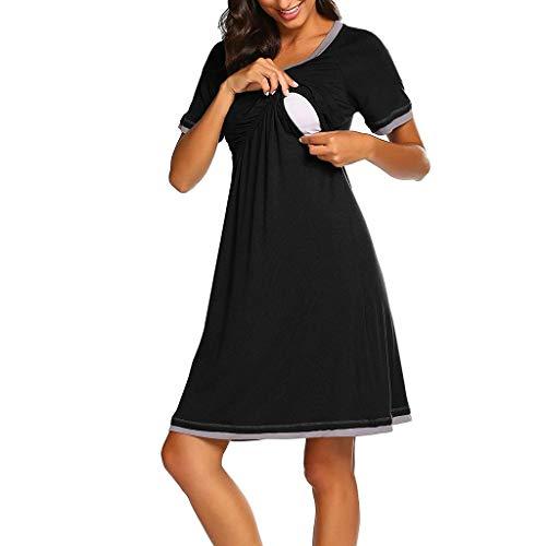 Amphia - Schwangere - Pyjama-Kleider - Kurzes Kleid für Mütter - Mutterschaft Kurzarm Stillen Stillen Nachthemd Schwangerschaftskleid