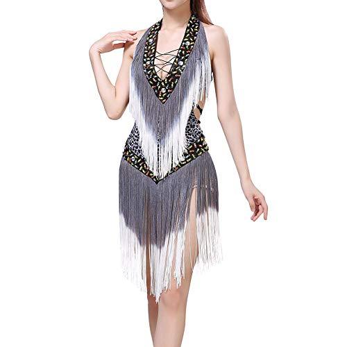 Gyratedream Latino Kleid Damen Latin Dance Dress Ballsaal Salsa Samba Rumba Tango Tanz Kostüme Sexy Leopard Quaste Kleider