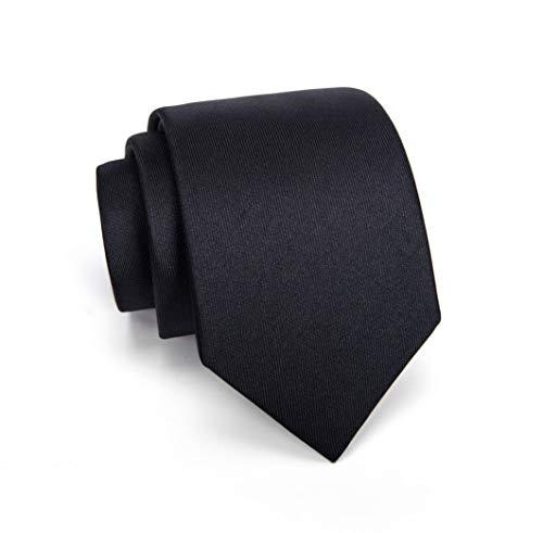 Massi Morino ® Seidenkrawatten für Herren - handgenähte Krawatte schwarz schwarze schwarzfarben schwarzekrawatte black Trauer Beerdigung trauerkleidung blacktie klassischekrawatte - Slim-krawatte Tie