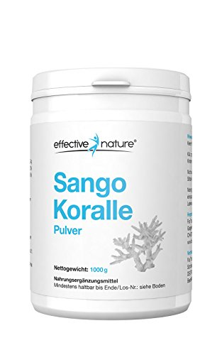 effective nature Sango Koralle Pulver - 100% original - Optimales Kalzium Magnesium Verhältnis - 1000g