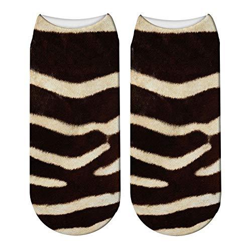 NANAYOUPIN Bequeme Baumwoll Socken (5 Paare) 3D Gedruckt Tier Pelz Socken Frauen Nette Lustige Tiger Haut Kurze Socken Casual Tier Zebra Leopard Kawaii Baumwollsocken2 2 Zebra-haut