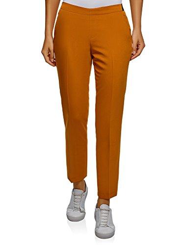 oodji Ultra Mujer Pantalones Clásicos con Pinzas, Naranja, ES 36 / XS