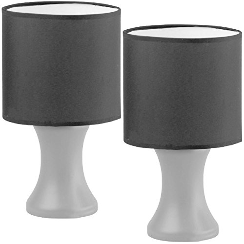 Promobo Set Duo 2Lampen Design Barock Füße Silber Lampenschirm Farbe schwarz