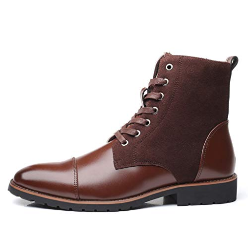 Mode Herrenschuhe,Resplend Männer Scrub Helles Leder Zeigte Britischer Stil Booties Hohe Hilfe Farbe Passend Spitz Lederschuhe - Hohe Bootie