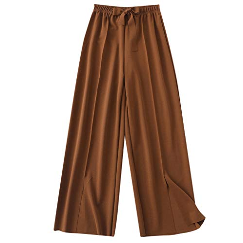 WOZOW Weites Bein Palazzo Hosen Anzughose Stoffhose Damen Solid Einfarbig Bowknot Loose Long Casual High Waist Swing Elastisch Elegant Arbeitskleidung Mode Trousers (3XL,Braun)