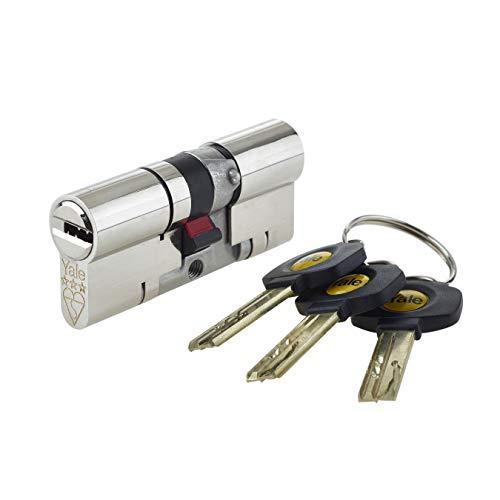 Yale - Cerradura europea de bombín cilíndrico para puerta de alta seguridad, anti rotura y anti golpes, níquel 35/35, uPVC, platino, 3 estrellas, 35 (int.) x 35 (ext.) TS2007:2014