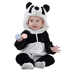 Idea Regalo - Michley Prima Infanzia Flanella Pagliaccetto con cappuccio Animal Style Cosplay Ragazzi Ragazze pigiama, xiongmao-90cm