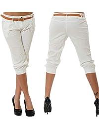 ORANDESIGNE Femme Eté Shorts Mode Pantalons Courts 3 4 Sarouel Pantalons  Confortable Chino Short Grande 28219c866d57