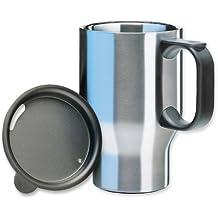 Isosteel VA-9558 Bicchiere termico a doppia parete, 0,4 litri in acciaio INOX 18/8, con coperchio in plastica forato e base antiscivolo