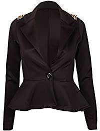Womens New Plain Long Sleeves Ladies Front Studded Peplum Frill Fitted Blazer Coat Jacket