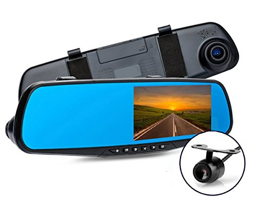"""AB Caméra de tableau de bord avant et arrière du miroir 1080P - Meilleure valeur de vente sur Amazon - Caméra d'enregistrement à cristaux liquides à double largeur HD de 4,3"""" Caméra miroir de stationnement avec détecteur de mouvement, vision nocturne infrarouge, capteur G, enregistrement en boucle, enregistrement panoramique"""