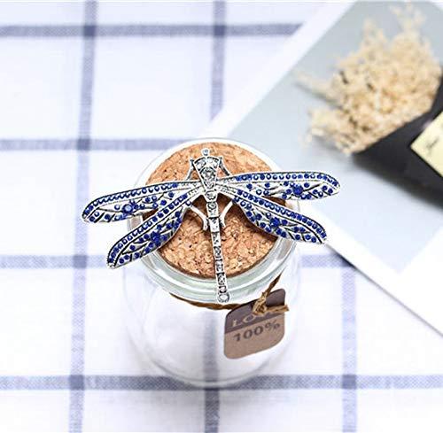 Meilandeng Mädchen Broschen & Pins Brosche Vintage tun alte Blaue Libelle Brosche edle Elegante hundert runden Insekt voller Diamanten Kleid Brosche Mode Pin Geschenk Hochzeitsbankett Mädchen