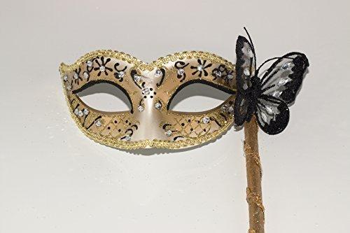 ezianische Maskerade Partei Karneval Maske mit Schmetterling auf einem Stick/Stock (Stick Auf Masken Für Maskeraden)