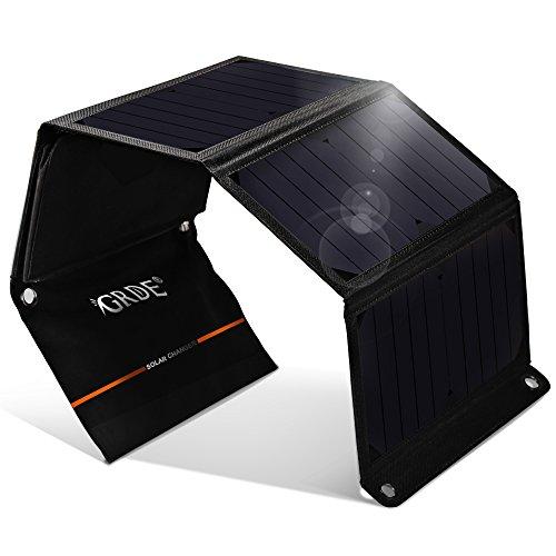 GRDE®Cargador Solar 24W Panel Solar Plegable con Daul USB Puertos Batería Externa Impermeable para Moviles, Tablets, Dispositivos Digitales