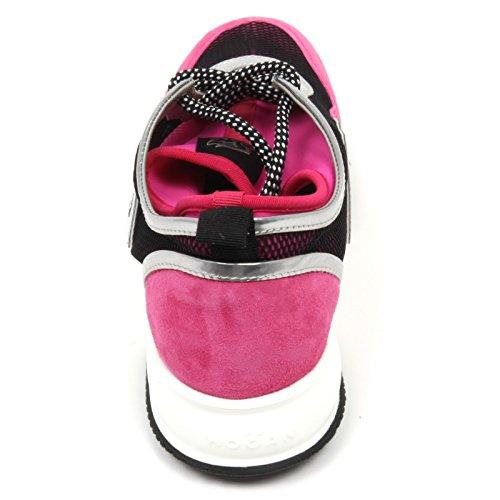 C8420 Baskets Donna Hogan Interactive Lycra H Flocons Fucsia / Nero Chaussure Femme Fucsia / Nero