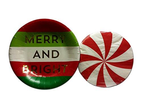 Brother Weihnachten New years Urlaub Deluxe Winter Party Papier Geschirr Bundle-2Artikel: 20Große Dessert Vorspeise Teller & 30Servietten Merry and Bright Peppermint Stripes