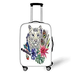 Travel Luggage Cover Suitcase Protector,Tiger,Retro Inspired Symbols Ethnic Montage with Contrasting Colors Anemone Majestic Feline Decorative,Multicolor,for Travel,M