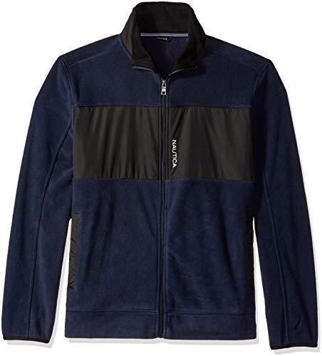 Nautica Herren Full-Zip Mock Neck Fleece Sweatshirt, Navy, Klein Zip Neck Fleece Pullover