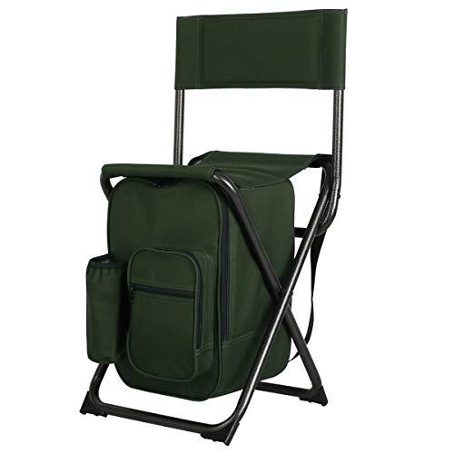 Portal Tragbarer Stuhl mit Leichter Rückenlehne, kompakter Klappstuhl, tragbare Aufbewahrungstasche mit Kühltasche und Schultergurten für Angeln, Camping, Wandern, unterstützt 250 kg (Tragbare Stuhl Unterstützt Den Rücken)