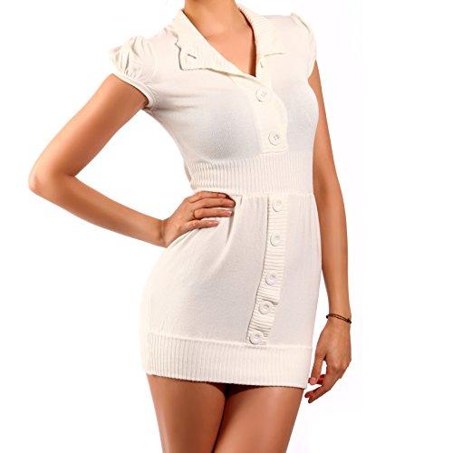 Young Fashion Minikleid Longpullover Strickkleid (M/L, Grau) Wollweiß