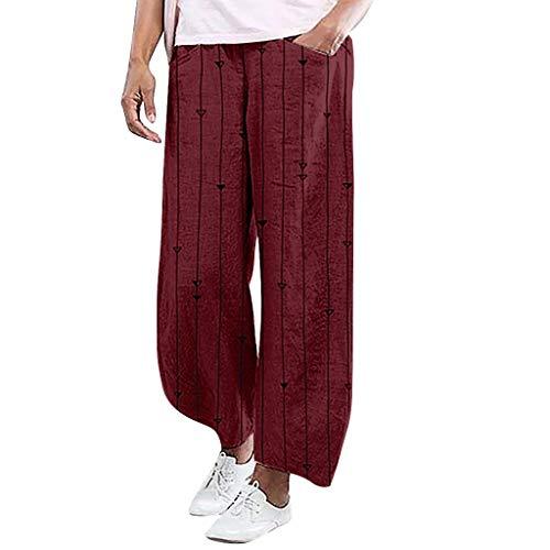 Damen Hosen Lang Weites Bein Sommerhose Gummibund Freizeithose mit Taschen und Gürtel Streifenmuster Yogahosen - Isolierte Arbeit Hosen