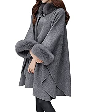 Huixin Abrigos De Mujer Invierno Fleece Ponchos De Pelo Cuello Alto Suelto Elegante Coat Outcoat Capas Colores...