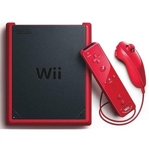 Console Nintendo Wii Mini Rouge + Télécommande Wii Plus Rouge + Manette Nunchunk Wii - Rouge + Alimentation Pour Wii + Câble Av Pour Nintendo Wii + Capteur Pour Wii + Prise Péritel Pour Wii [Importación Francesa]