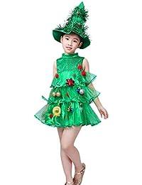 BBsmile Vestido de Navidad Niños bebés niñas Tops de Disfraces Party Vest + Trajes de Sombreros