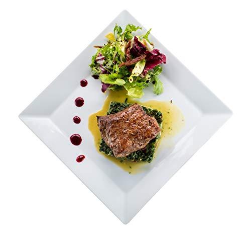 350.966-2er Set Gourmet Teller XL, Flacher Essteller, 27 x 27 cm, echtes Hartporzellan, weiß, EAK2227