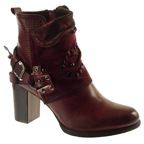 Angkorly - Women's Fashion Shoes Ankle Boots - Booty - Biker - bi Material - Classic - Thong - Snakeskin - Studded Block high Heel 7.5 cm - Wine F3026 T 37 - UK 4