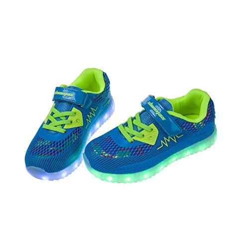 Shinmax Frühling-Sommer-Herbst-Breathable LED Schuhe 7 Farben USB Aufladbare Leuchtschuhe Kinderschuhe mit CE-Zertifikat für Halloween Weihnachten Dank Giving Day Hellblau